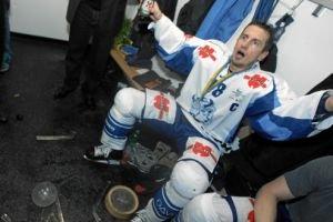 Dynamo Minsk players broke the Spengler Cup in the locker room