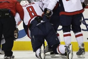 Alexander Ovechkin talks to media about knee injury